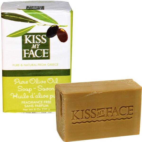 Kiss My Face, 순수 오리브 오일 비누, 무향, 8 oz (230 g)