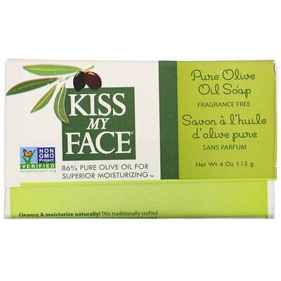 Kiss My Face Pure Olive Oil Soap, Fragrance Free, 4 oz (115 g)