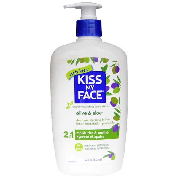 Kiss My Face, Rich Kiss, 2 In 1 Deep Moisturizing Lotion, Olive & Aloe, 16 fl oz (473 ml) (Discontinued Item)