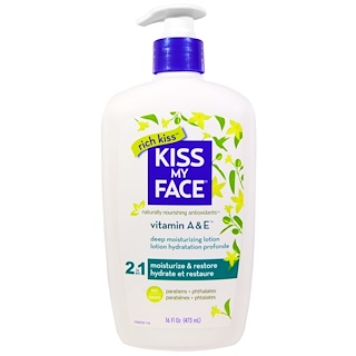 Kiss My Face, Rich Kiss, 2 In 1 Deep Moisturizing Lotion, Vitamin A & E, 16 fl oz (473 ml)