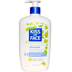 Kiss My Face, Rich Kiss, 2 In 1 Deep Moisturizing Lotion, Olive & Aloe, Fragrance Free, 16 fl oz (473 ml)