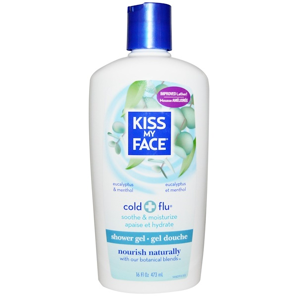 Kiss My Face, Cold + Flu, Shower Gel, Eucalyptus & Menthol, 16 fl oz (473 ml) (Discontinued Item)