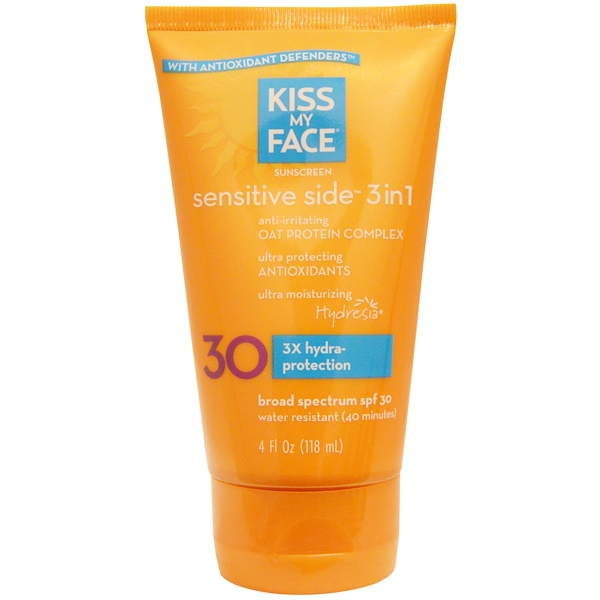 Kiss My Face, Sensitive Side 3in1 Sunscreen, SPF 30, 4 fl oz (118 ml)