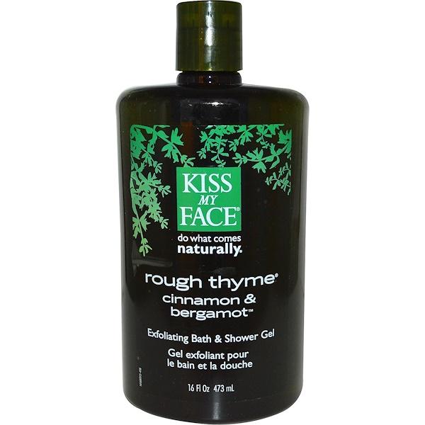 Kiss My Face, Rough Thyme, Exfoliating Bath & Shower Gel, Cinnamon & Bergamot, 16 fl oz (473 ml) (Discontinued Item)