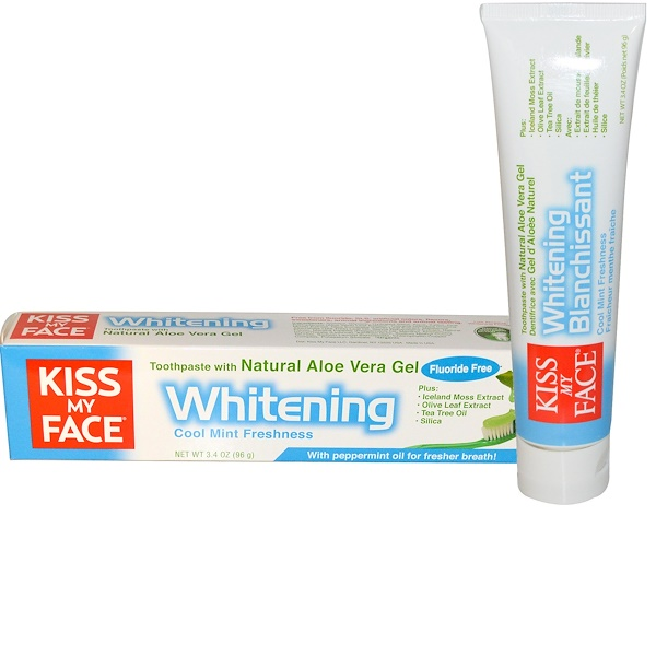 Kiss My Face, Whitening Toothpaste, with Natural  Aloe Vera Gel, Cool Mint Freshness, 3.4 oz (96 g) (Discontinued Item)