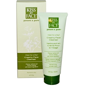 Kiss My Face, Clean For A Day, Creamy Face Cleanser, 4 fl oz (118 ml)