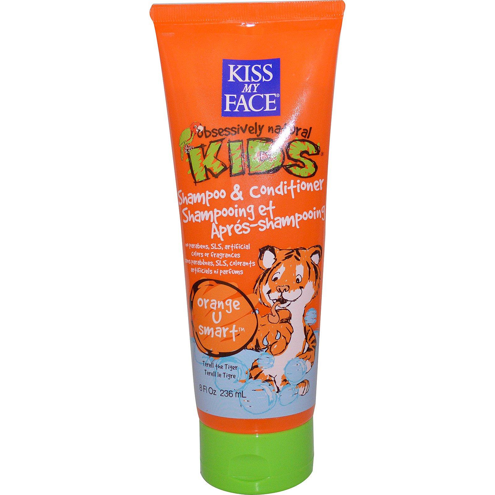 """Kiss My Face, """"Страстно натуральные дети"""", апельсиновое средство для умниц, детский шампунь-кондиционер, 8 жидких унций (236 мл)"""