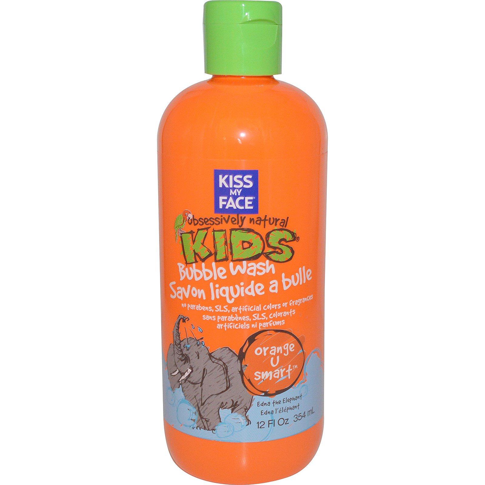 """Kiss My Face, """"Страстно натуральные дети"""", апельсиновое средство для умниц, детская пена для ванн, 12 жидких унций (354 мл)"""