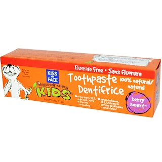 Kiss My Face, Obsessively Natural Kids, Toothpaste, Flouride Free, Berry Smart, 4 oz (113 g)