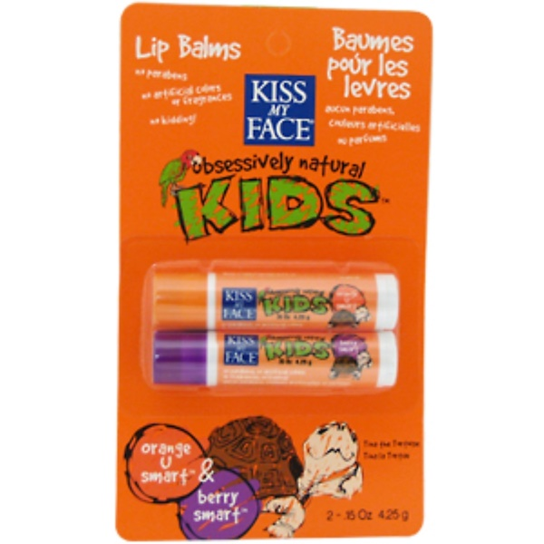 Kiss My Face, KL, Obsessively Natural Kids, Lip Balms, Orange U Smart & Berry Smart, 2 Lip Balms, .15 oz (4.25 g) Each (Discontinued Item)