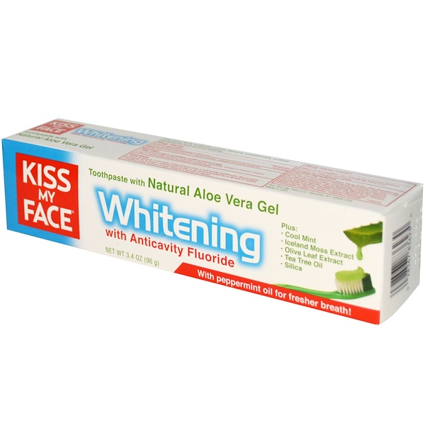Kiss My Face,  Whitening With Anticavity Fluoride Toothpaste, With Natural Aloe Vera Gel, 3.4 fl oz (96 g) (Discontinued Item)