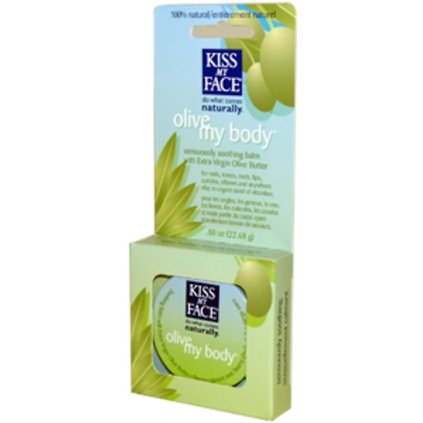 Kiss My Face, OM, Olive My Body, Sensuously Soothing Balm with Extra Virgin Olive Butter, .80 oz (22.68 g) (Discontinued Item)