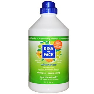 Kiss My Face, Whenever Shampoo, All Hair Types, Green Tea & Lime, 32 fl oz (946 ml)