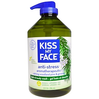 Kiss My Face, Anti-Stress, Bath & Body Wash, Calming Woodland Pine & Ginseng, 32 fl oz (946 ml)