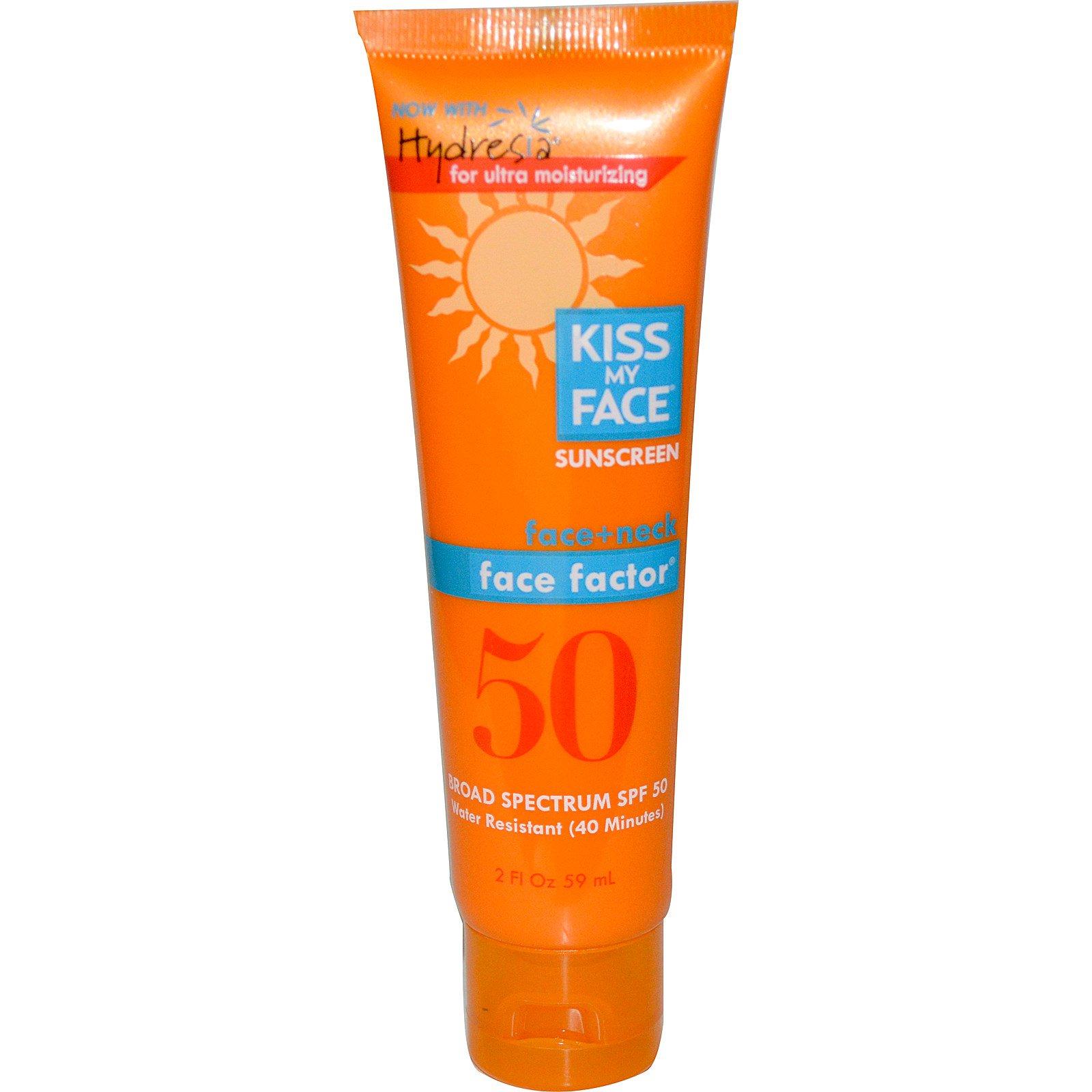 Kiss My Face, Солнцезащитный крем для лица и шеи, 50 SPF, 2 жидких унции (59 мл)
