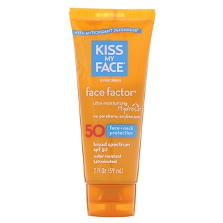 Kiss My Face, Face Factor, Face + Neck, Sunscreen, 50 SPF , 2 fl oz (59 ml)