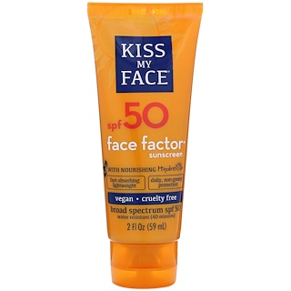 Kiss My Face, Face Factor Sunscreen, 50 SPF, 2 fl oz (59 ml)