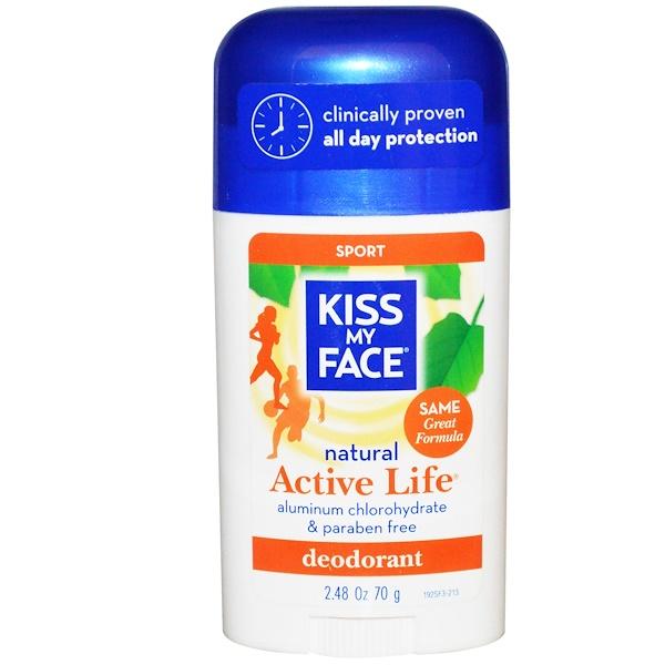 Kiss My Face, 액티브 라이프, 스포츠 데오도란트, 2.48 온스 (70 g)