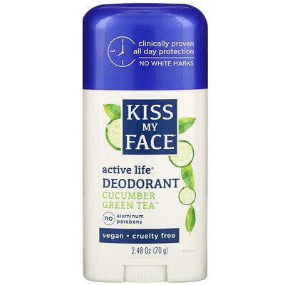 Купить Kiss My Face Active Life Deodorant, Cucumber Green Tea, 2.48 oz (70 g)