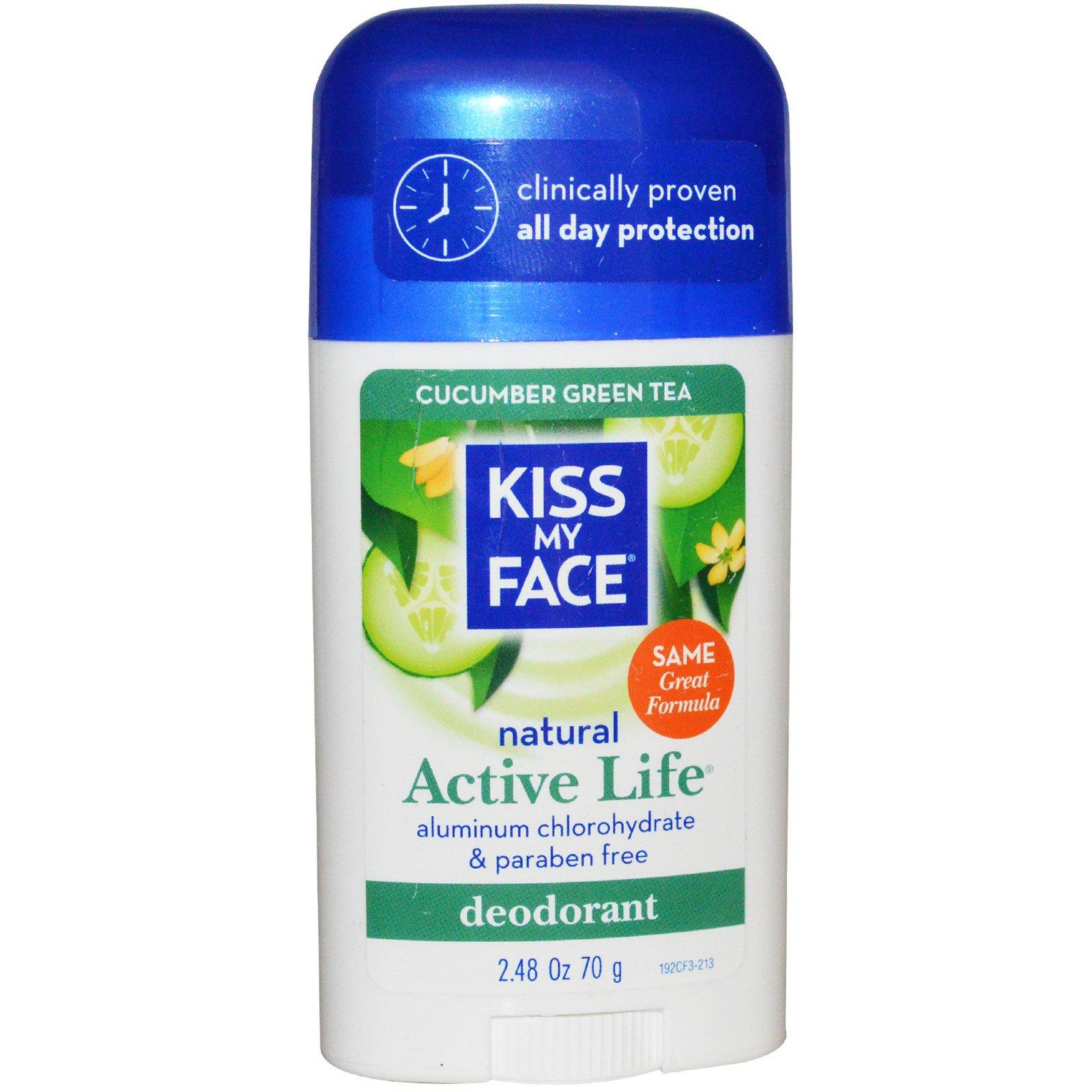 Kiss My Face, Натуральный дезодорант для активной жизни, огурец и зеленый чай, 2,48 унции (70 гр)