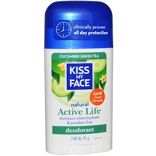 Kiss My Face, Natural Active Life Deodorant, Cucumber Green Tea, 2.48 oz (70 g)
