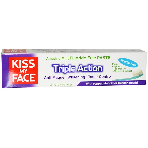 Kiss My Face, Triple Action Fluoride Free Toothpaste, Amazing Mint, 3.4 oz (96 g) (Discontinued Item)