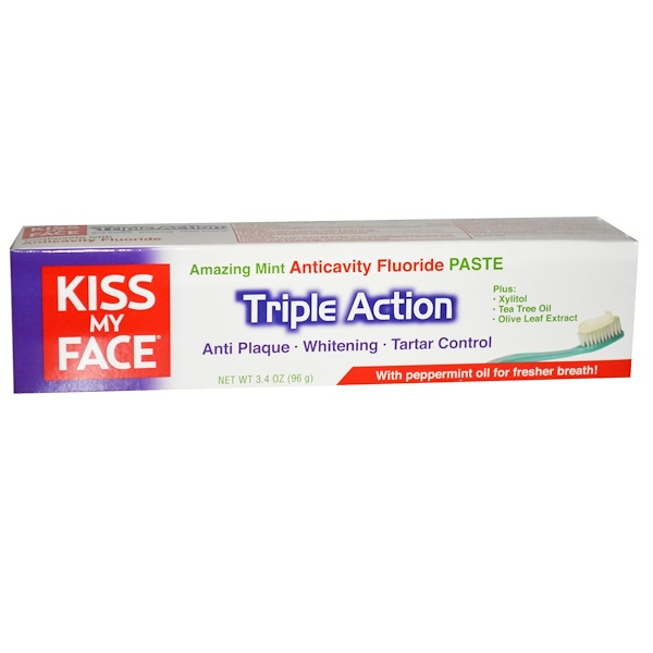 Kiss My Face, Triple Action, Anticavity Fluoride Paste, Amazing Mint, 3.4 oz (96 g) (Discontinued Item)