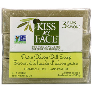 Кис май фэйс, Pure Olive Oil Soap, Fragrance Free, 3 Bars, 4 oz (115 g) Each отзывы покупателей