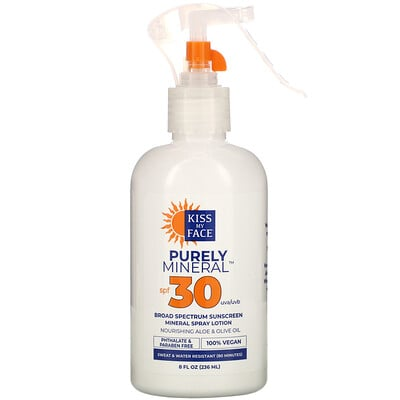 Kiss My Face Purely Mineral, Broad Spectrum Sunscreen Mineral Spray Lotion, SPF 30, 8 fl oz (236 ml)