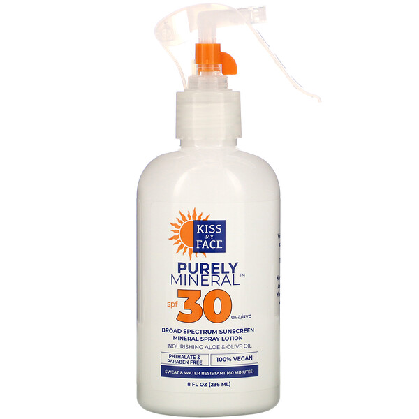 Purely Mineral, Broad Spectrum Sunscreen Mineral Spray Lotion, SPF 30, 8 fl oz (236 ml)