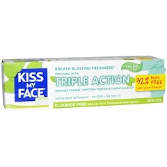 Kiss My Face, Triple Action Toothpaste, Flouride Free, Cool Mint Gel, 4.5 oz (127.6 g)