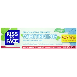 Kiss My Face, Whitening, Anticavity Fluoride Toothpaste, Cool Mint Gel, 4.5 oz (127.6 g)