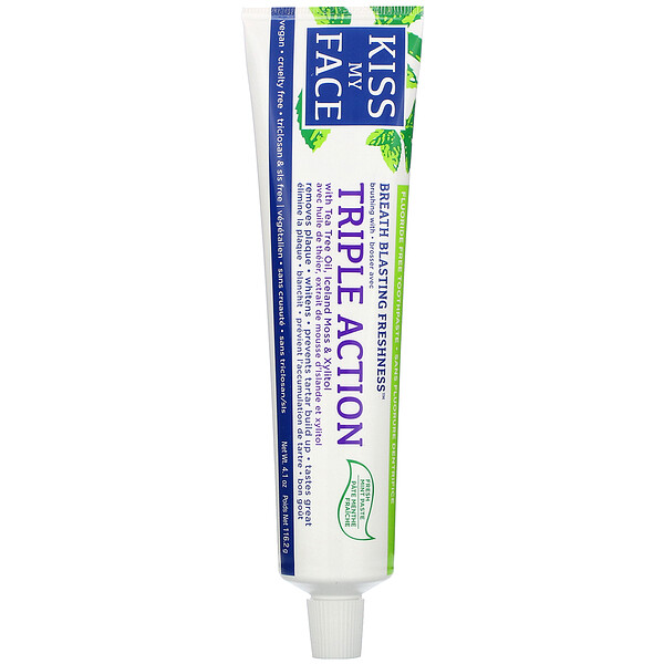 Triple Action Toothpaste with Tea Tree Oil, Iceland Moss & Xylitol, Fluoride Free, Fresh Mint, 4.1 oz (116.2 g)