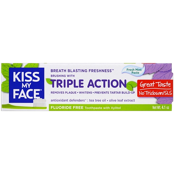 Kiss My Face, Triple Action Toothpaste, Fluoride Free, Fresh Mint Paste, 4、1 oz