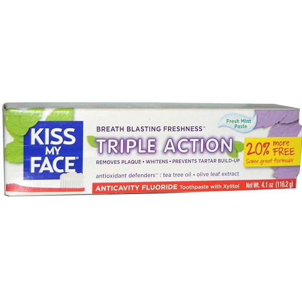 Kiss My Face, Фторированная зубная паста от кариеса тройного действия, свежая мятная паста, 4.1 унций (116.2 г) (Discontinued Item)