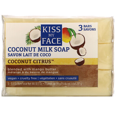 Kiss My Face Coconut Milk Soap, Coconut Citrus, 3 Bars, 3.5 oz (99 g) Each