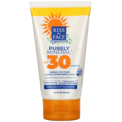Kiss My Face Organics, Purely Mineral, Broad Spectrum Mineral Sunscreen Lotion, SPF 30, 3.4 fl oz (100 ml)