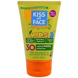 Kiss My Face, Organics, Kids, Face & Body Mineral Sunscreen, SPF 30, 3.4 fl oz (100 ml)