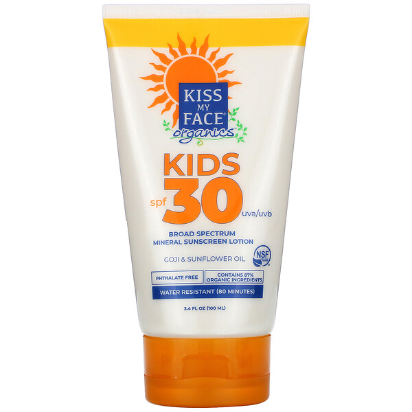 Kiss My Face, Organics, Kids, Broad Spectrum Mineral Sunscreen Lotion, SPF 30, 3.4 fl oz (100 ml)