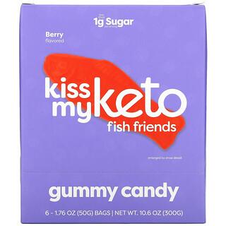 Kiss My Keto, Fish Friends Gummy Candy, Berry, 6 Bags, 1.76 oz ( 50 g) Each