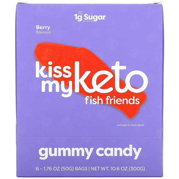 Kiss My Keto, Fish Friends Gummy Candy, Berry Flavor, 6 Bags, 1.76 oz ( 50 g) Each