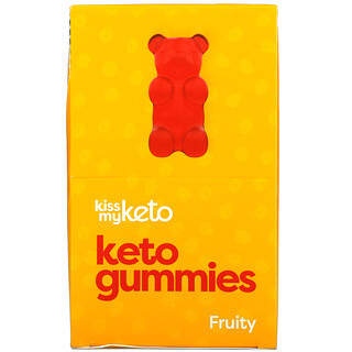 Kiss My Keto, Keto Gummies, Apple, Strawberry, Peach , 12 Bags, 22.5 g Each