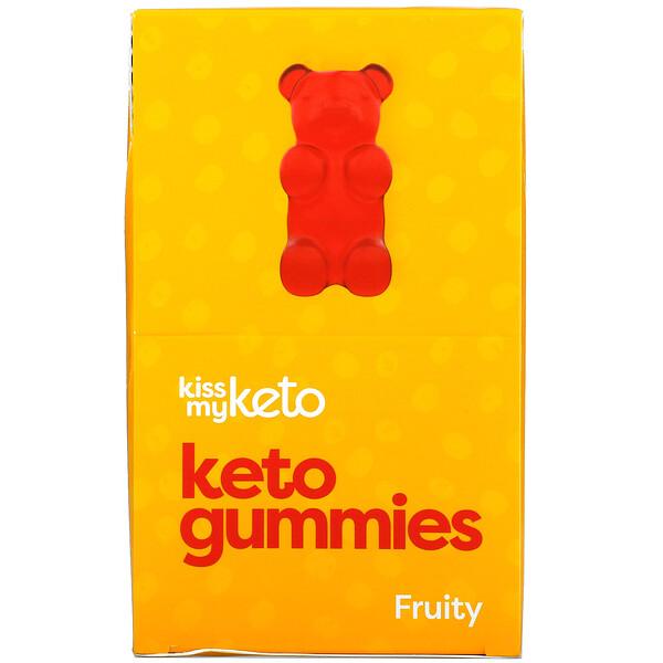 Keto Gummies, Apple, Strawberry, Peach , 12 Bags, 22.5 g Each