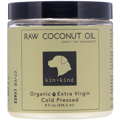 Купить Kin+Kind Raw Coconut Oil, Skin & Coat, 8 fl oz (236.5 ml)