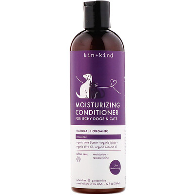 Купить Kin+Kind Moisturizing Conditioner, for Itchy Dogs & Cats, Unscented, 12 fl oz (354 ml)