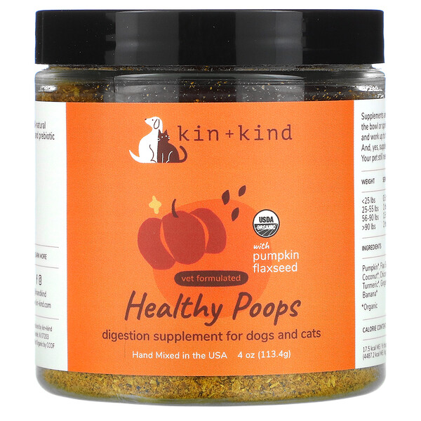 Kin+Kind, Healthy Poops with Pumpkin Flaxseed, For Dogs & Cats, 4 oz (113.4 g)