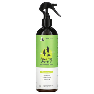 Kin+Kind, Flea + Tick Prevent, Dog + Cat Protect Spray, Lemongrass, 12 fl oz (354 ml)