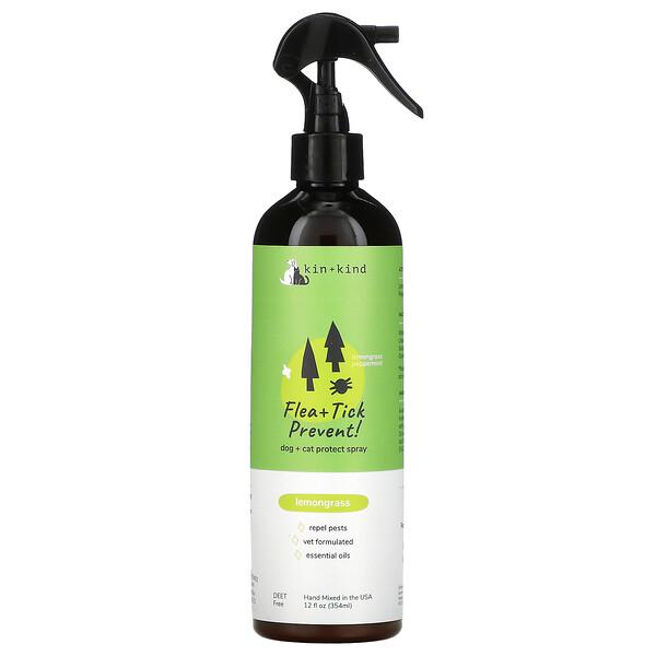 Flea + Tick Prevent, Dog + Cat Protect Spray, Lemongrass, 12 fl oz (354 ml)