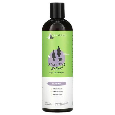 Купить Kin+Kind Flea + Tick Relief, Dog + Cat Shampoo, Lavender, 12 fl oz (354 ml)