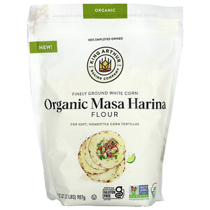King Arthur Flour, Finely Ground White Corn Organic Masa Harina Flour, 2 lbs (907 g)